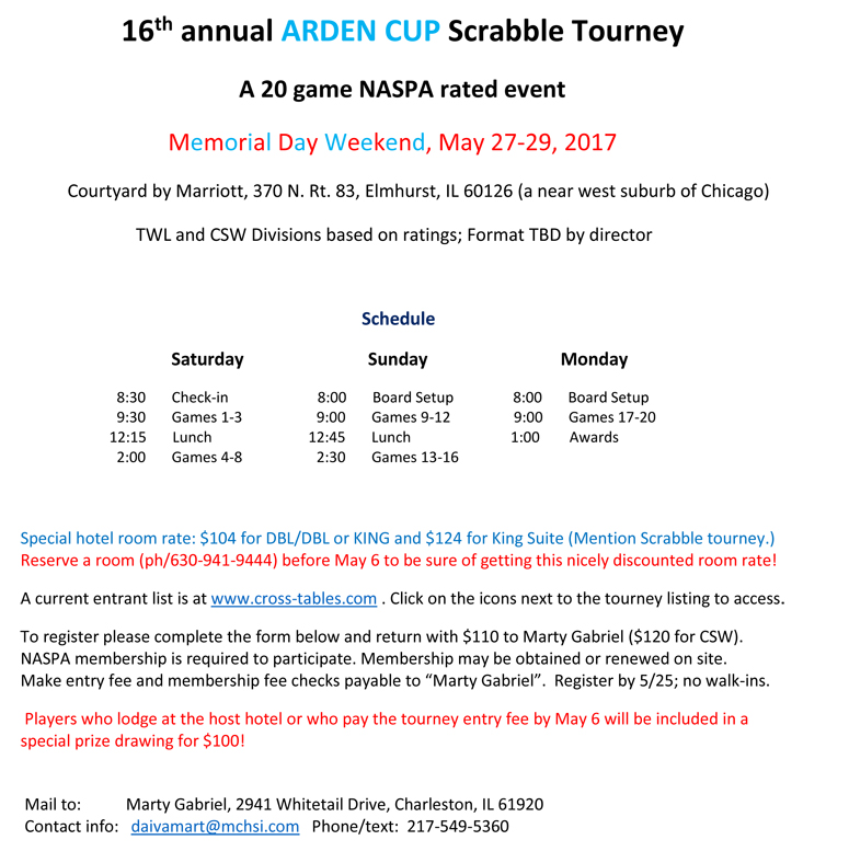 16th annual ARDEN CUP Scrabble Tourney Website Announcement